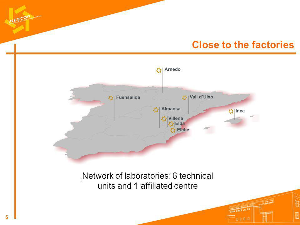 Network of laboratories: 6 technical units and 1 affiliated centre