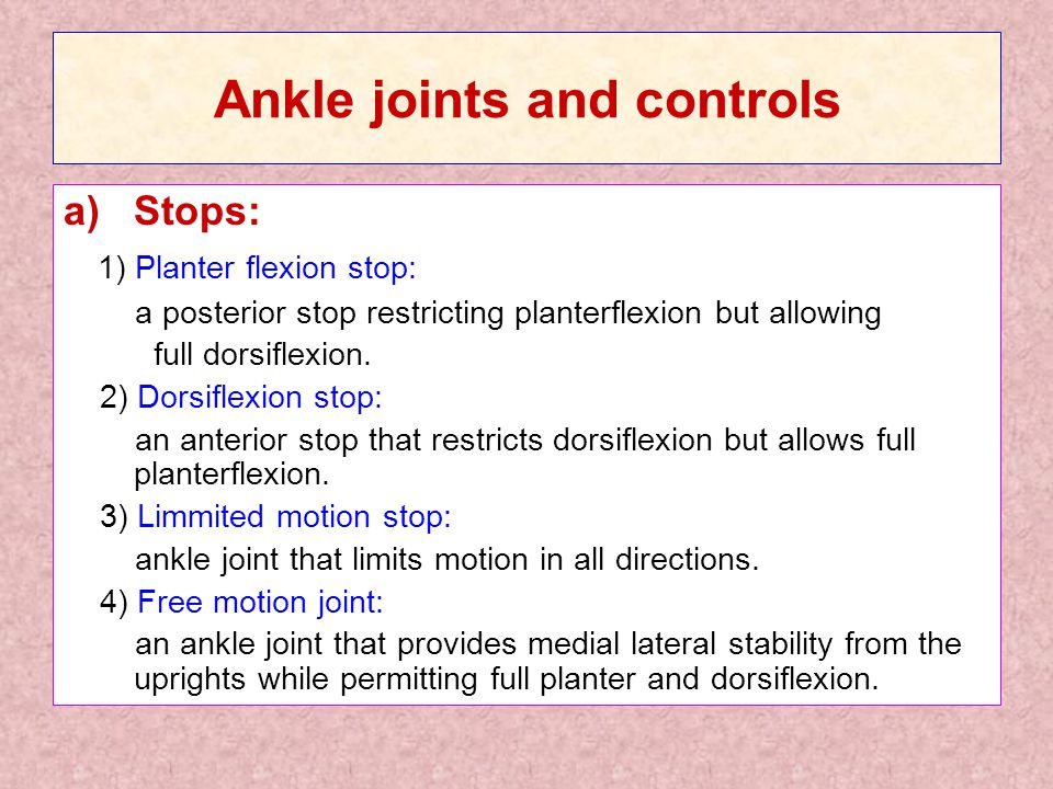 Ankle joints and controls