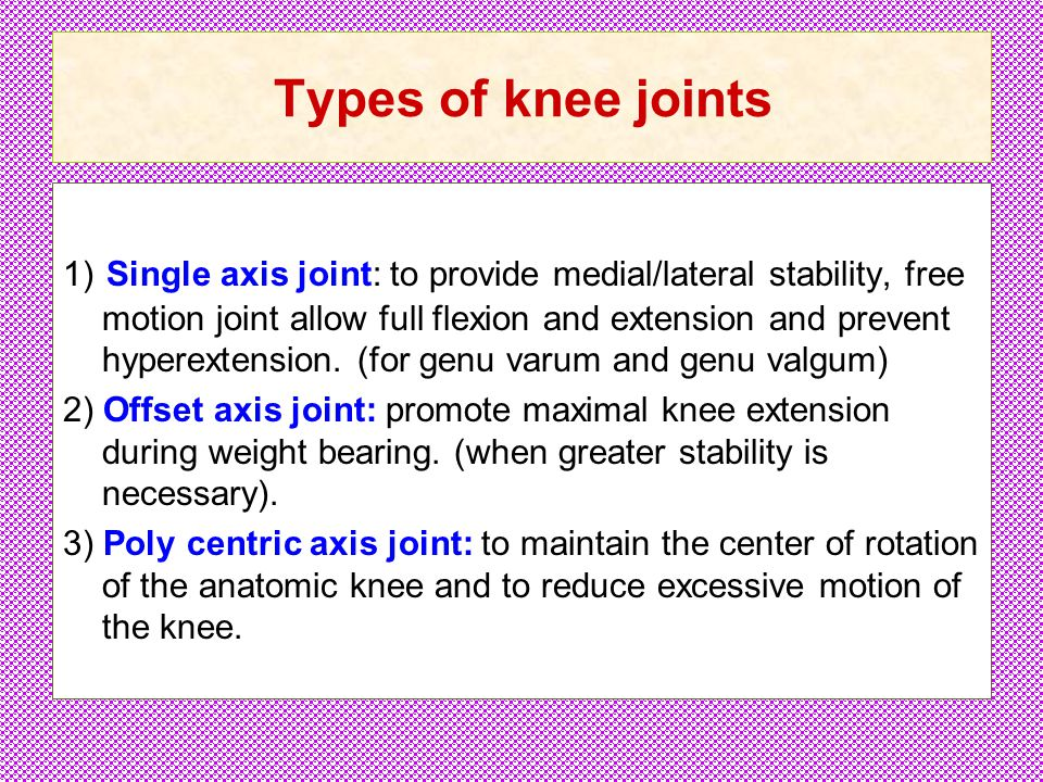 Types of knee joints