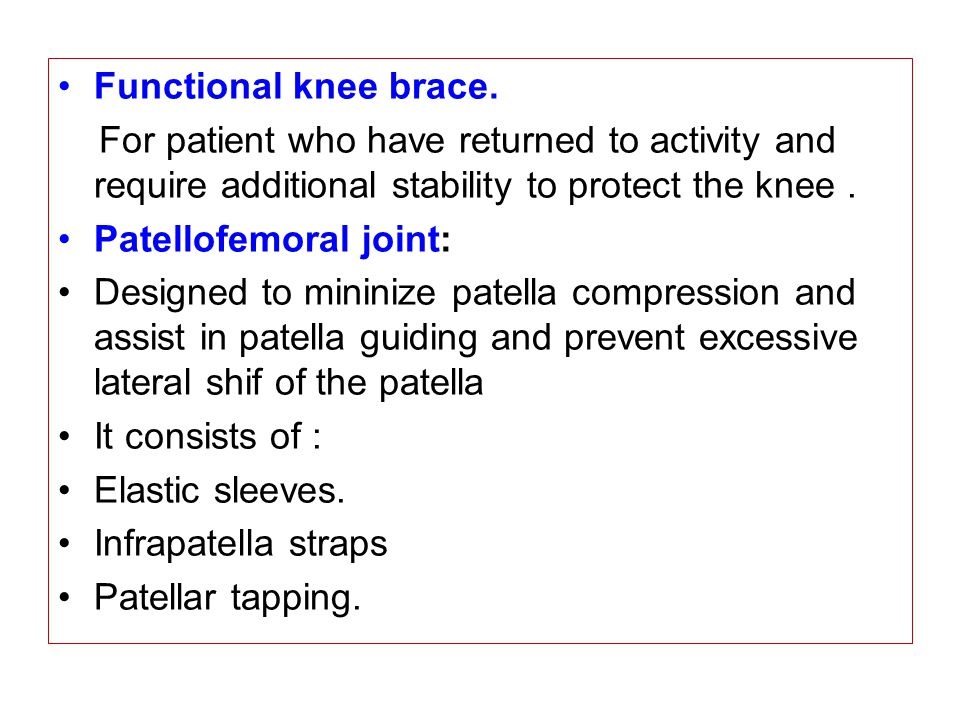 Functional knee brace. For patient who have returned to activity and require additional stability to protect the knee .