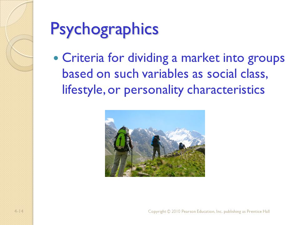 Psychographics Criteria for dividing a market into groups based on such variables as social class, lifestyle, or personality characteristics.