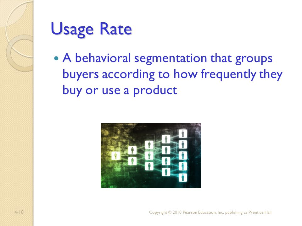 Usage Rate A behavioral segmentation that groups buyers according to how frequently they buy or use a product.