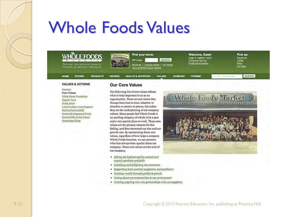 Whole Foods Values Copyright © 2010 Pearson Education, Inc. publishing as Prentice Hall