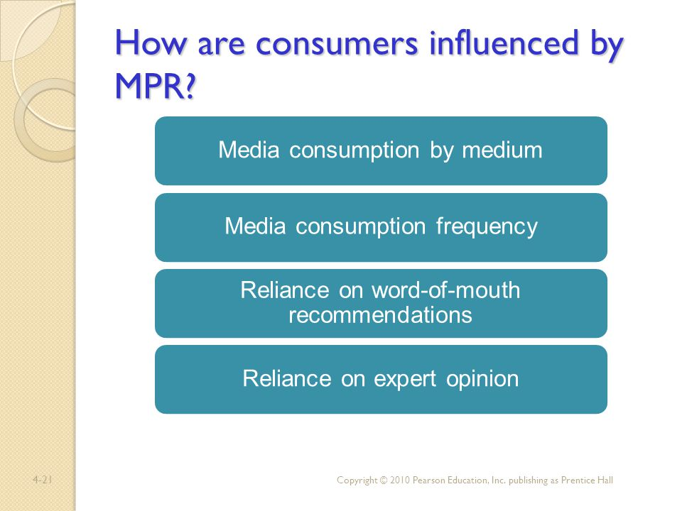 How are consumers influenced by MPR