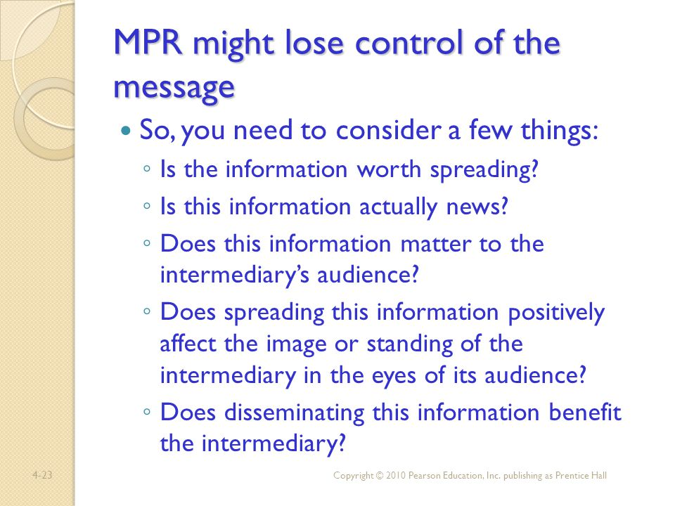 MPR might lose control of the message