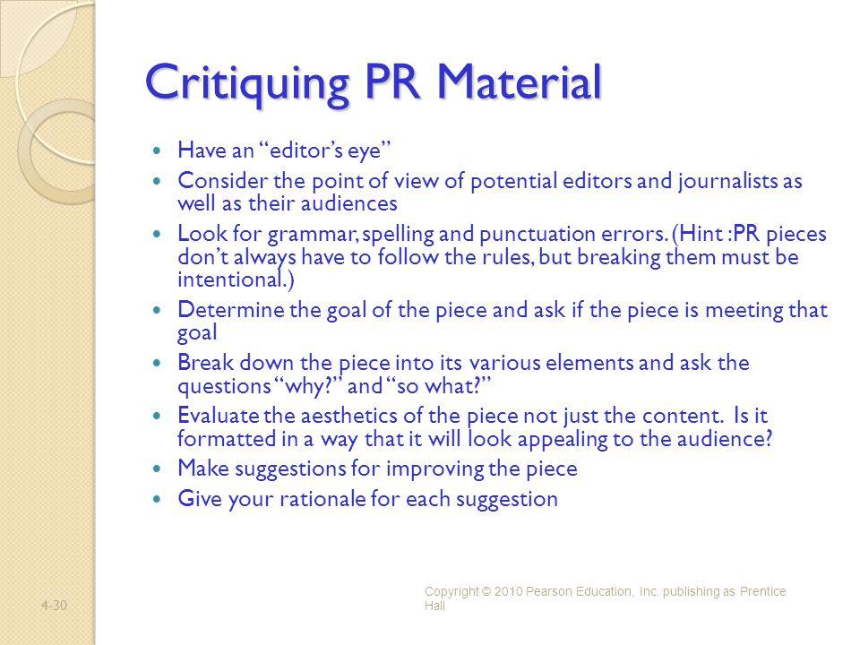 Critiquing PR Material