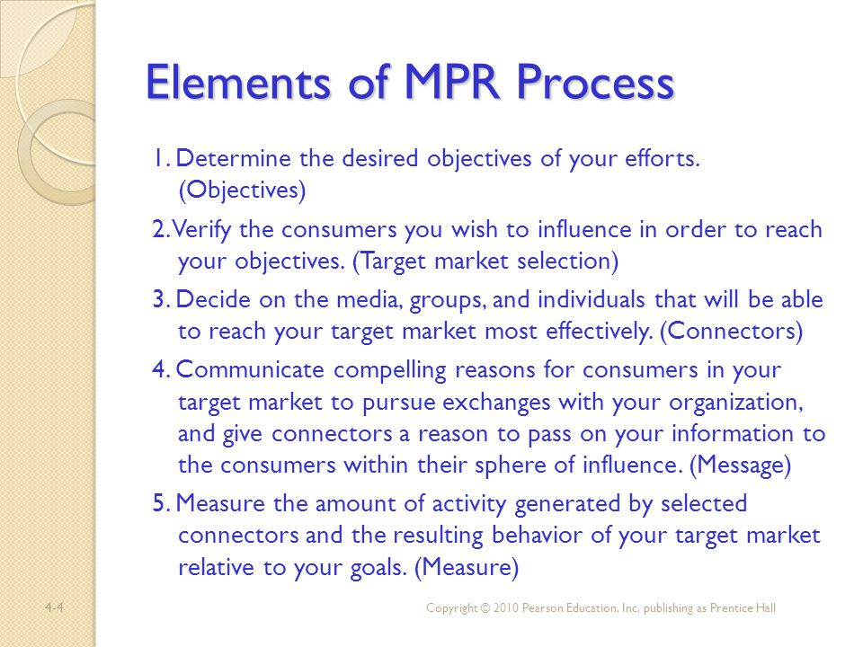 Elements of MPR Process