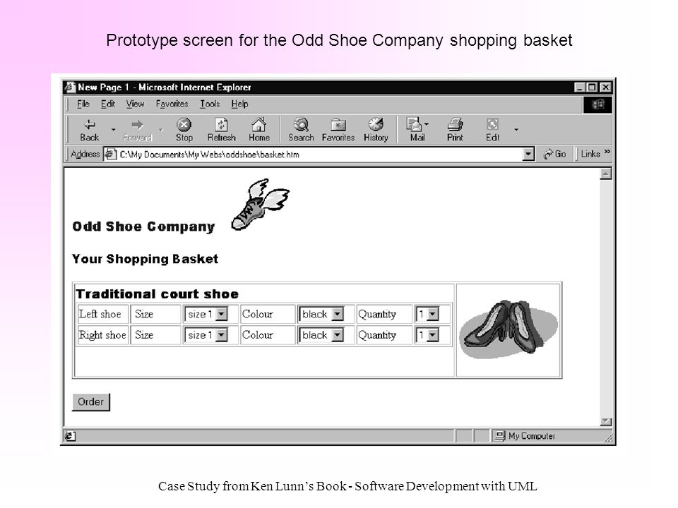 Prototype screen for the Odd Shoe Company shopping basket