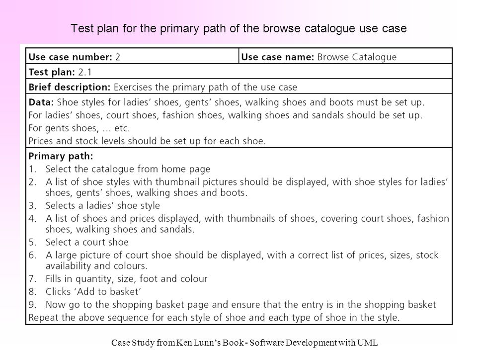 Test plan for the primary path of the browse catalogue use case