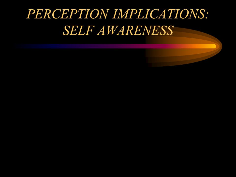 PERCEPTION IMPLICATIONS: SELF AWARENESS