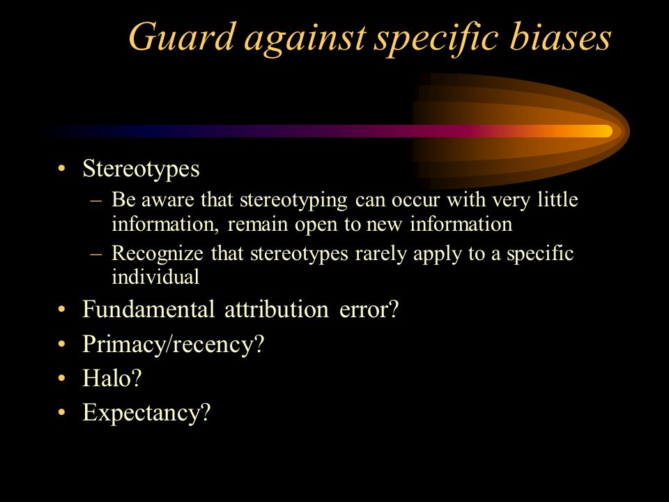 Guard against specific biases