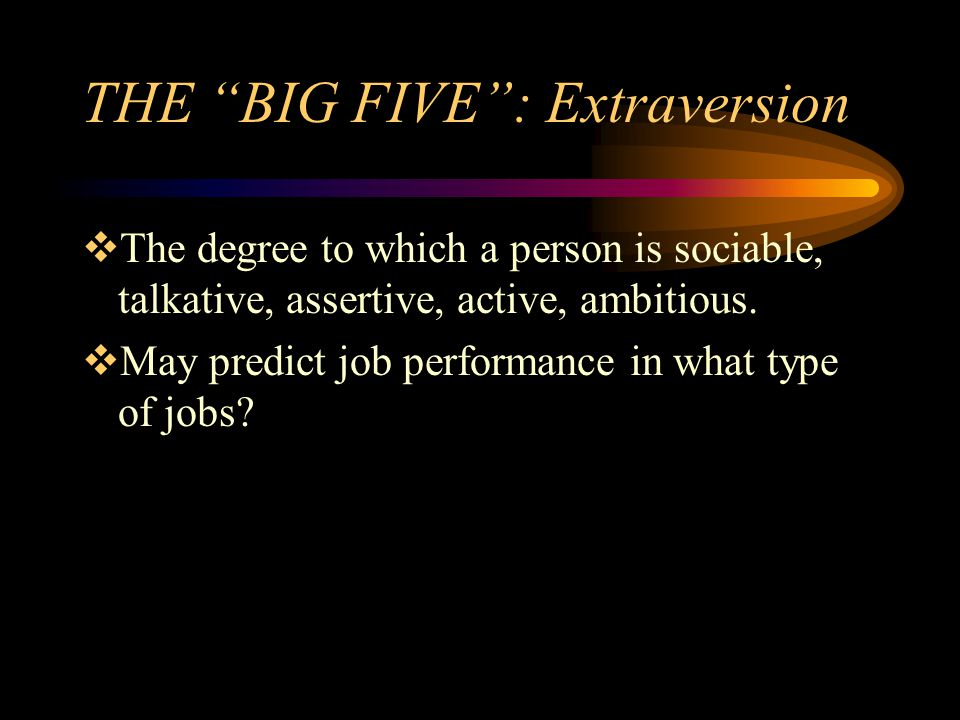 THE BIG FIVE : Extraversion