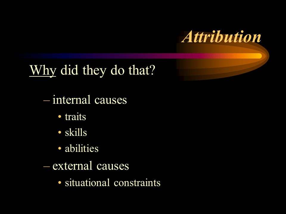 Attribution Why did they do that internal causes external causes