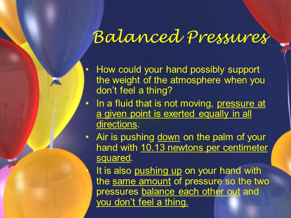 Balanced Pressures How could your hand possibly support the weight of the atmosphere when you don't feel a thing