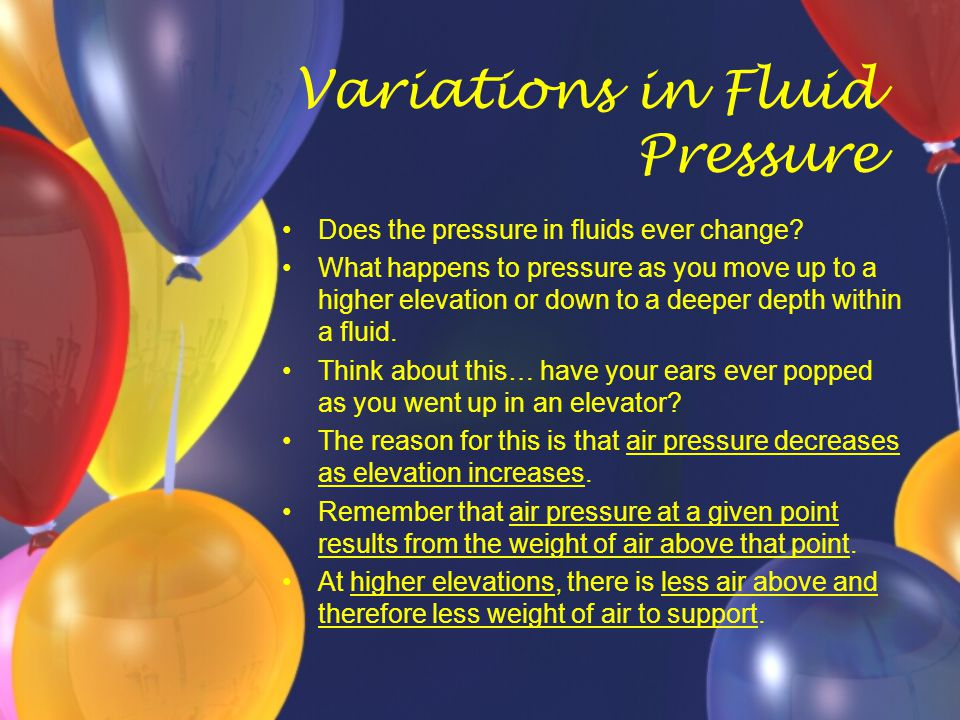 Variations in Fluid Pressure