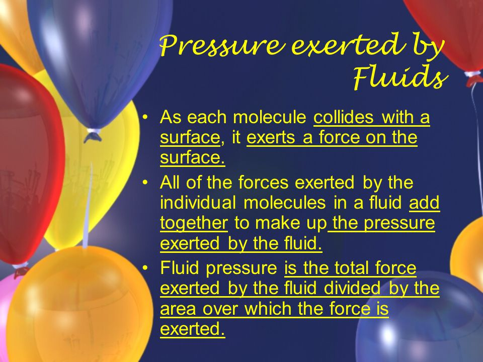 Pressure exerted by Fluids