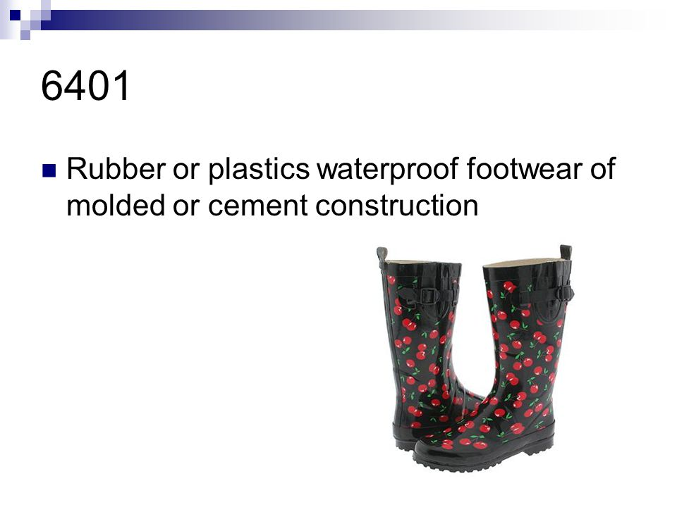 6401 Rubber or plastics waterproof footwear of molded or cement construction