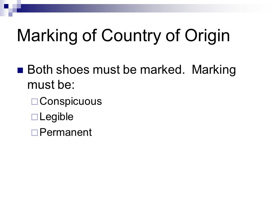 Marking of Country of Origin