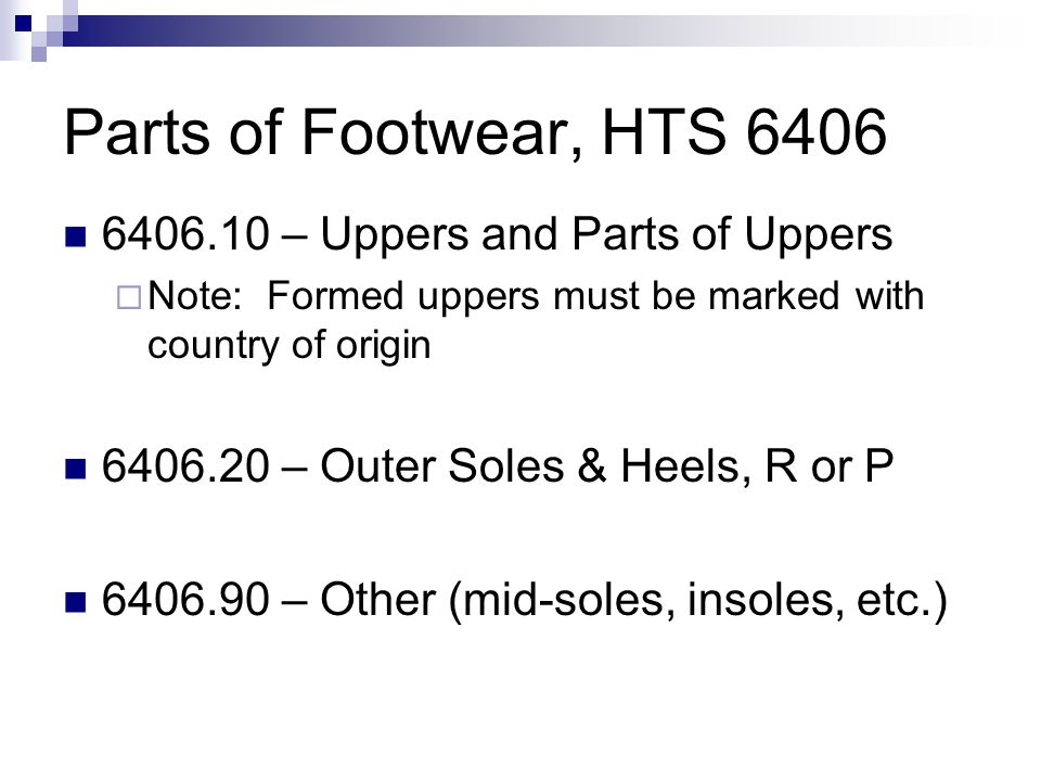 Parts of Footwear, HTS 6406 6406.10 – Uppers and Parts of Uppers
