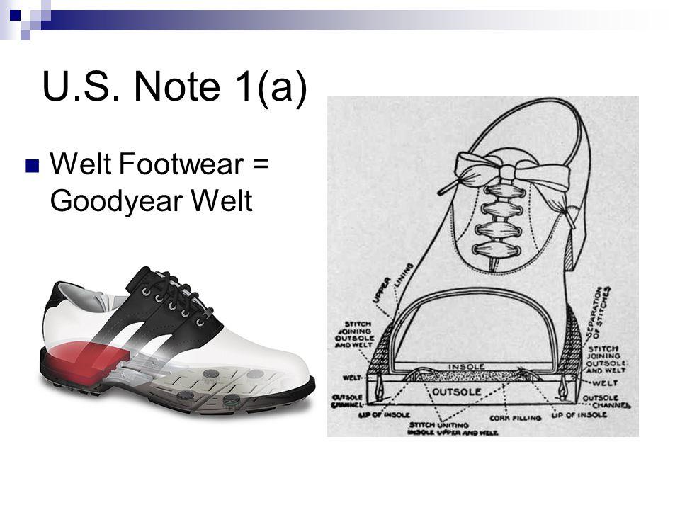 U.S. Note 1(a) Welt Footwear = Goodyear Welt