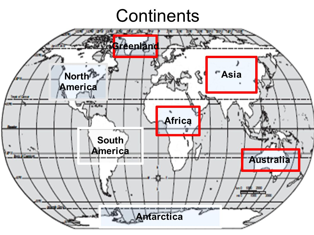 Continents Greenland Asia North America Africa South America Australia