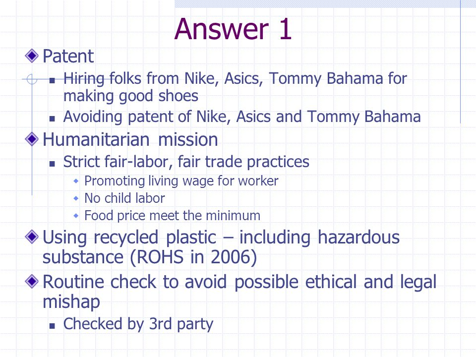 Answer 1 Patent Humanitarian mission