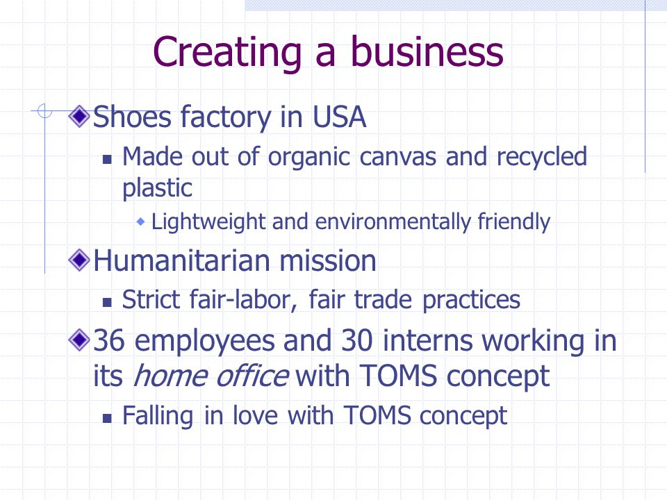 Creating a business Shoes factory in USA Humanitarian mission