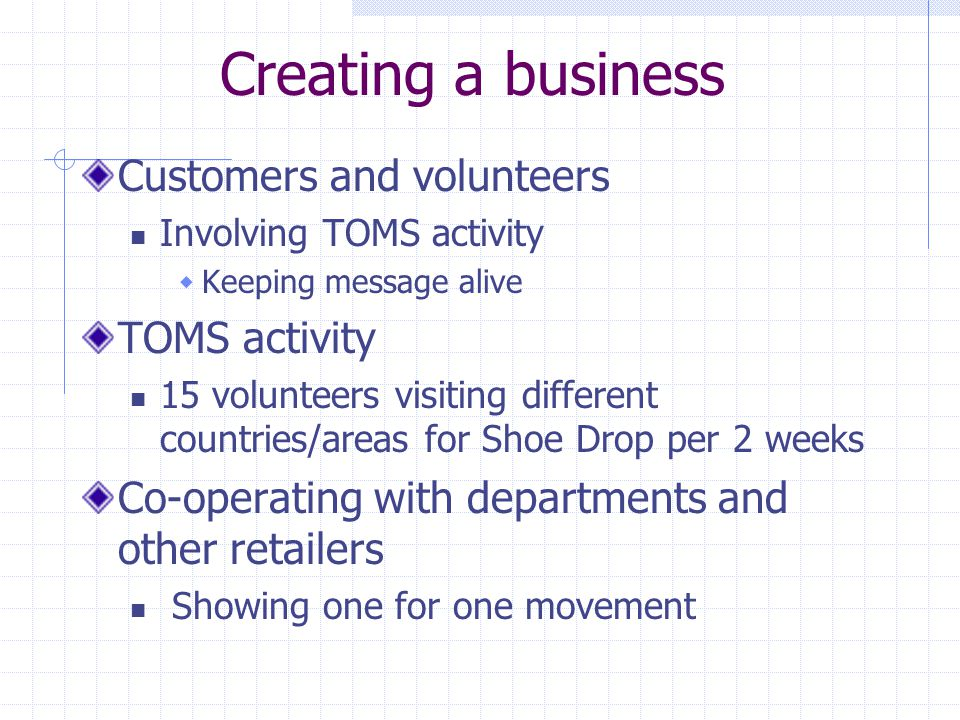 Creating a business Customers and volunteers TOMS activity