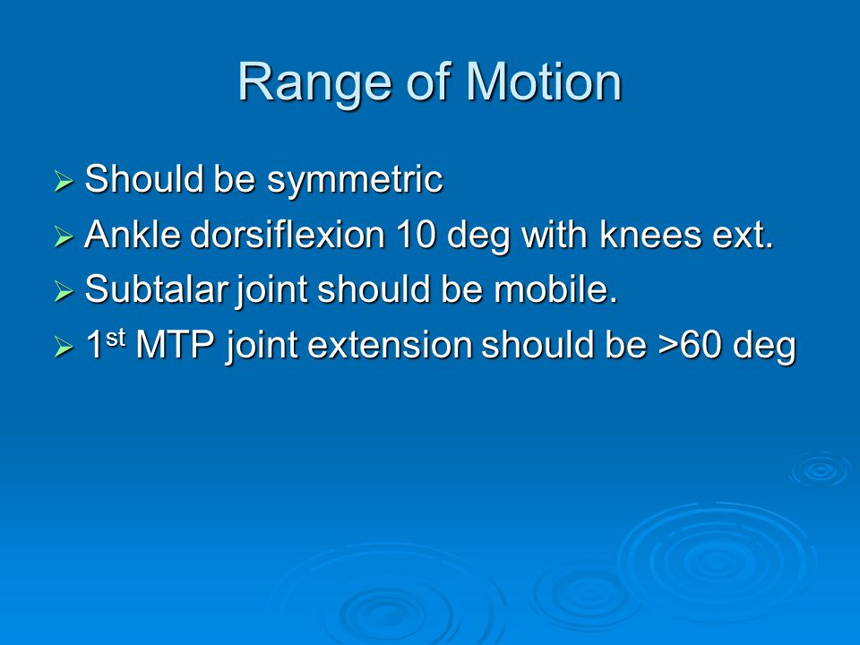 Range of Motion Should be symmetric