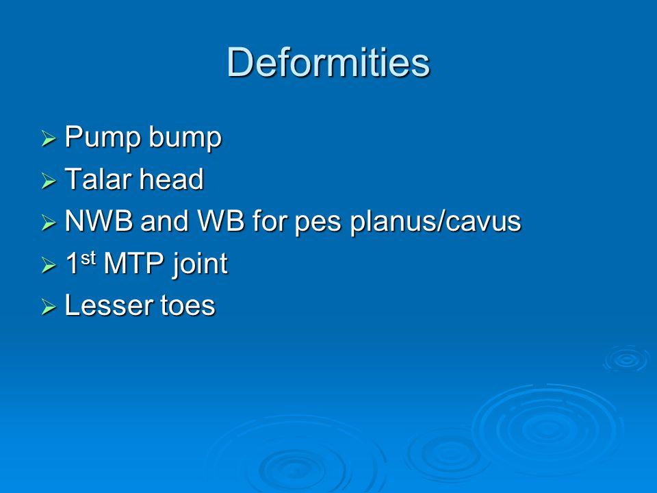 Deformities Pump bump Talar head NWB and WB for pes planus/cavus