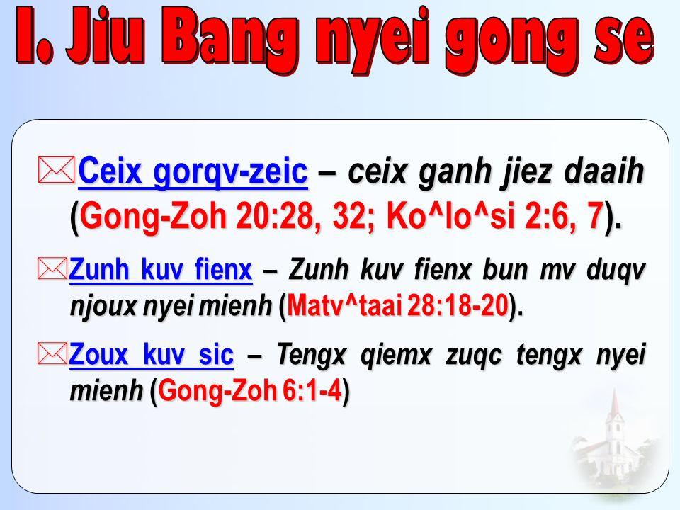 I. Jiu Bang nyei gong se Introduction. Ceix gorqv-zeic – ceix ganh jiez daaih (Gong-Zoh 20:28, 32; Ko^lo^si 2:6, 7).