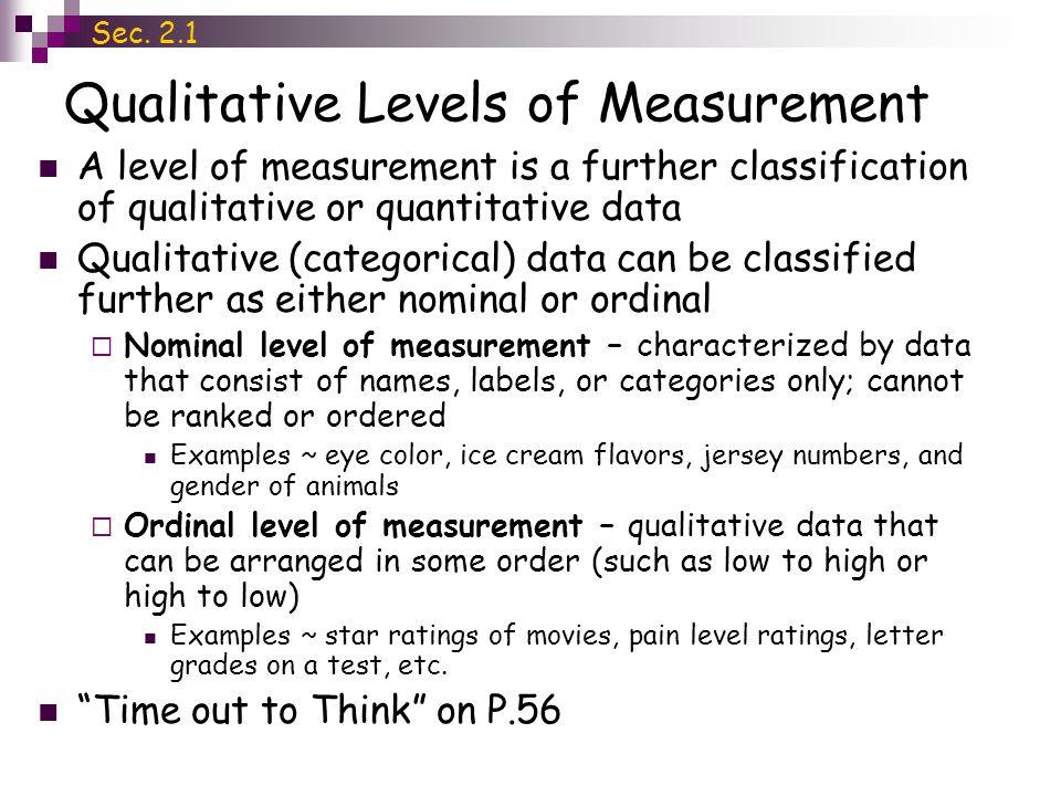 Qualitative Levels of Measurement