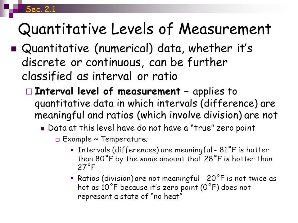 Quantitative Levels of Measurement