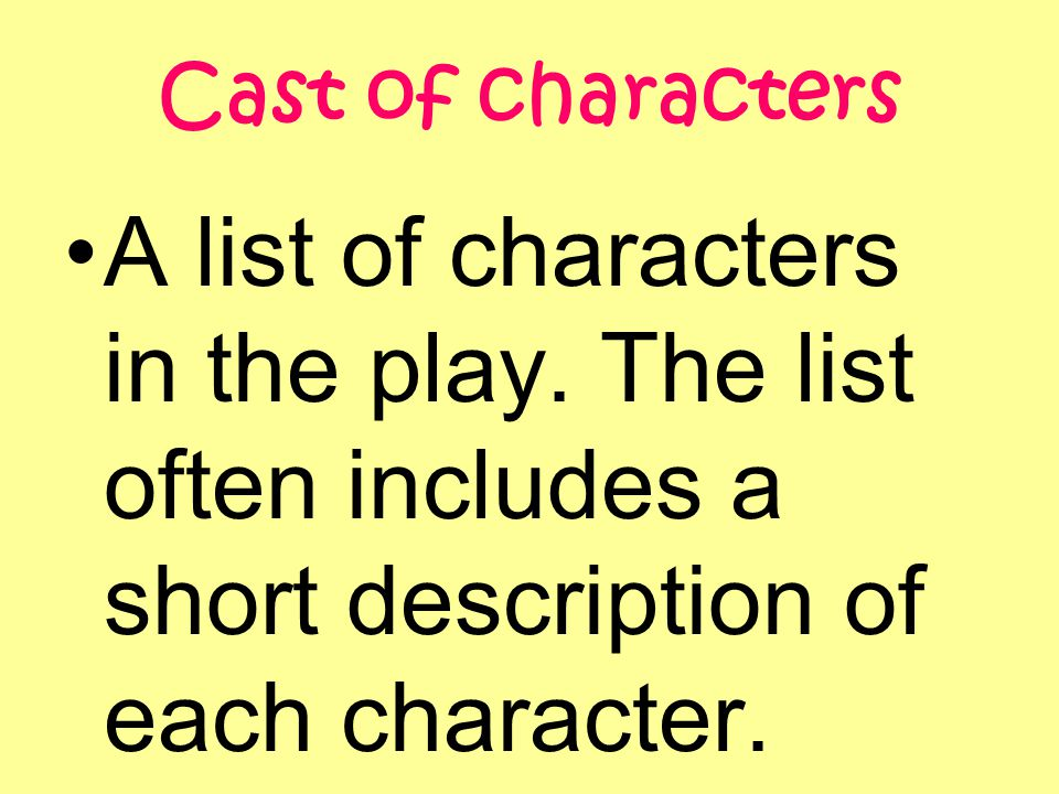 Cast of characters A list of characters in the play.