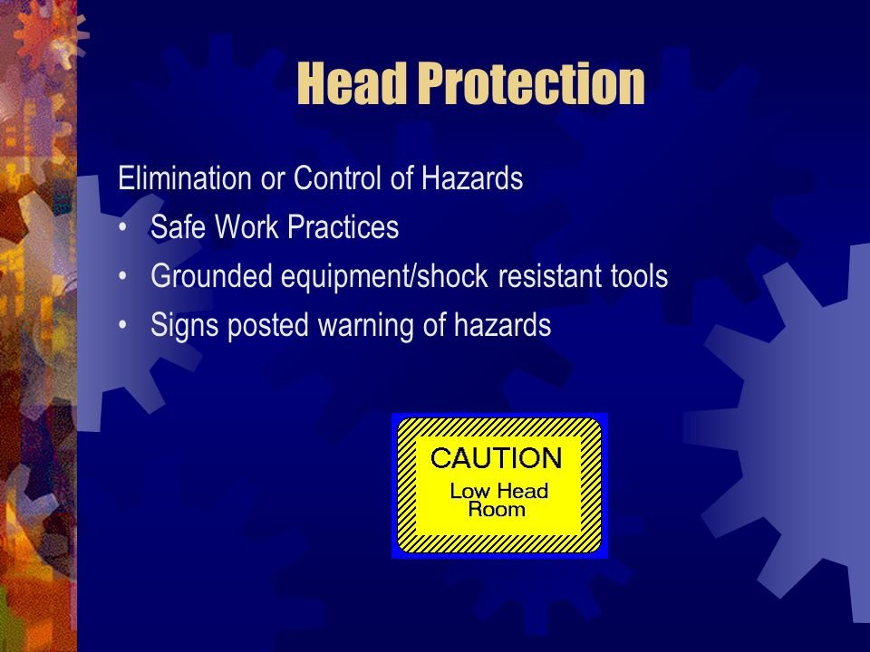 Head Protection Elimination or Control of Hazards Safe Work Practices