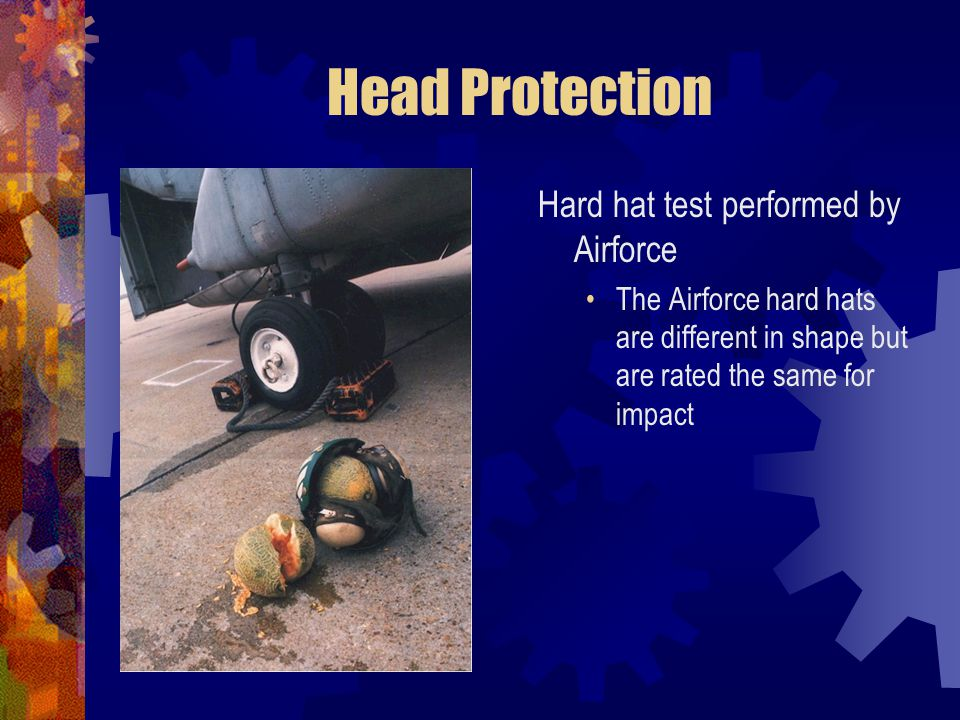 Head Protection Hard hat test performed by Airforce