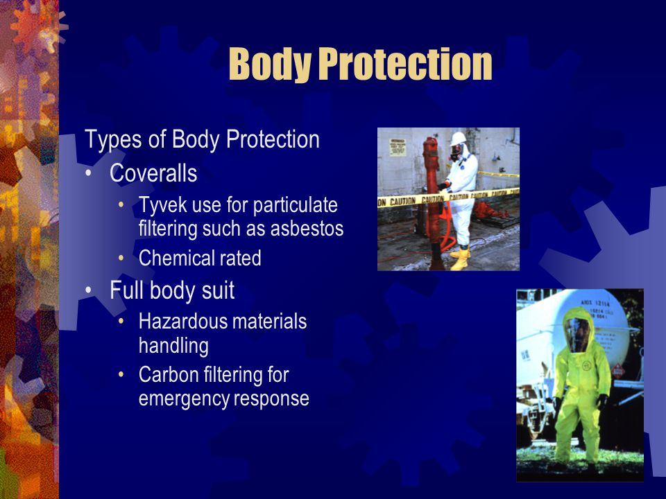 Body Protection Types of Body Protection Coveralls Full body suit