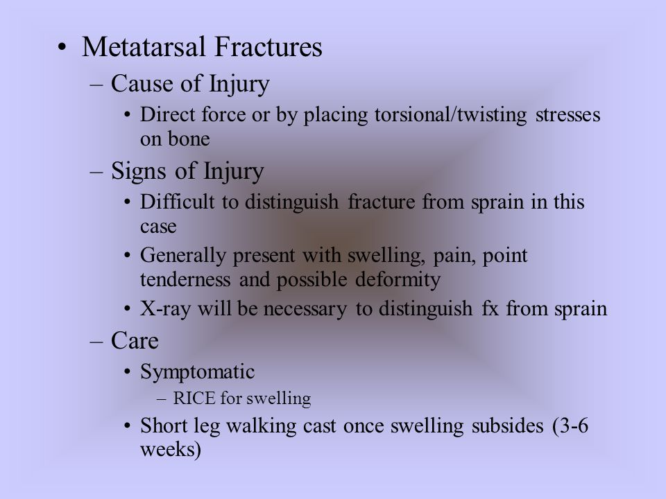 Metatarsal Fractures Cause of Injury Signs of Injury Care