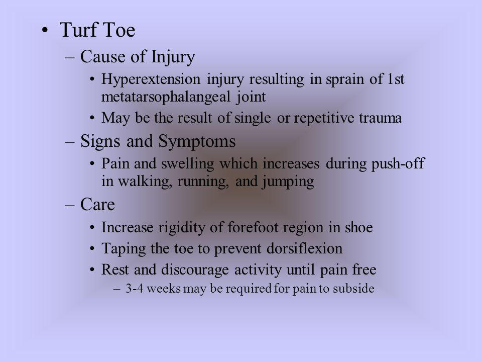 Turf Toe Cause of Injury Signs and Symptoms Care