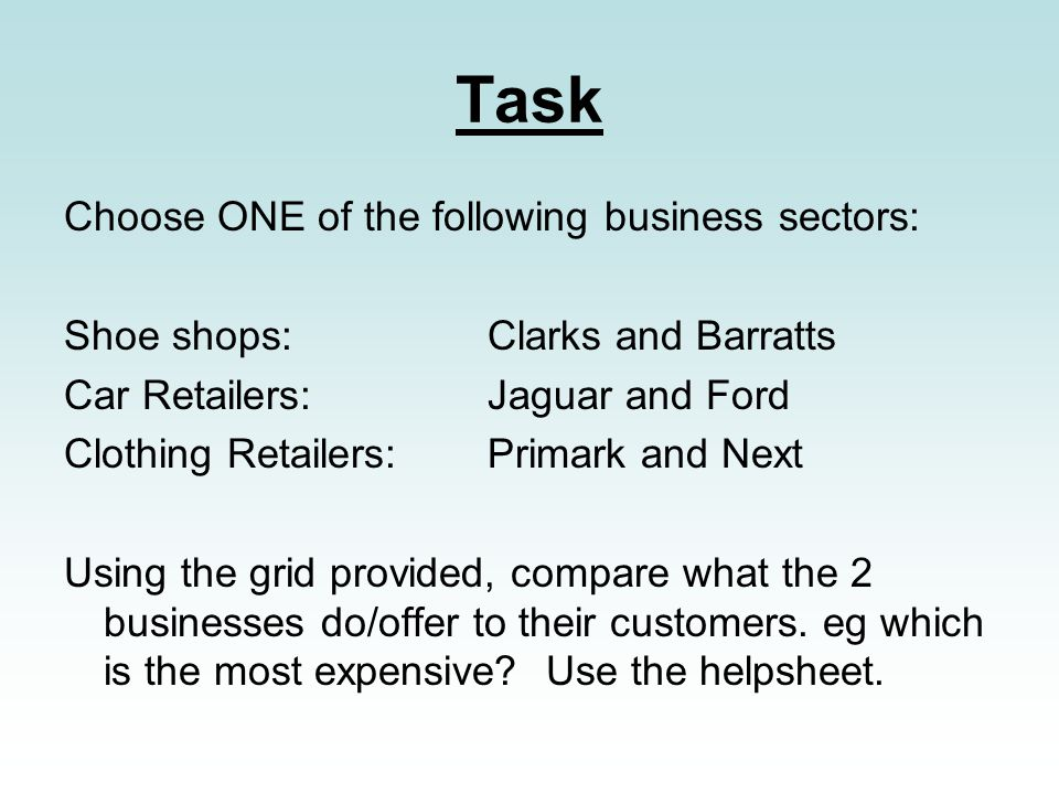 Task Choose ONE of the following business sectors: