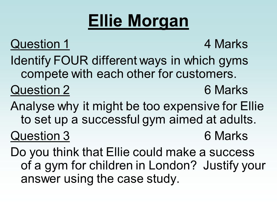 Ellie Morgan Question 1 4 Marks