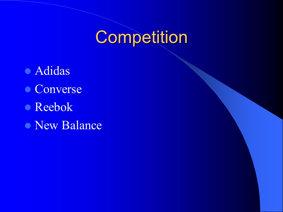 Competition Adidas Converse Reebok New Balance