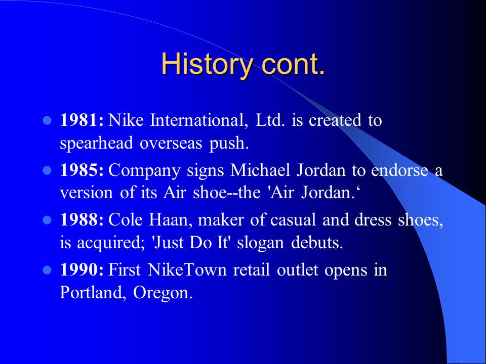 History cont. 1981: Nike International, Ltd. is created to spearhead overseas push.