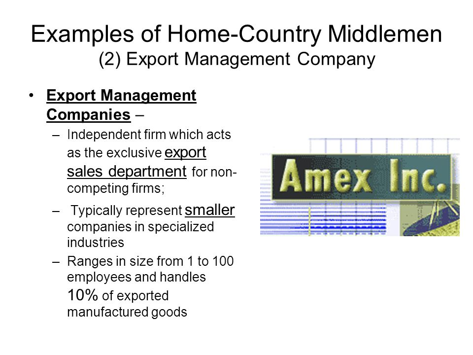 Examples of Home-Country Middlemen (2) Export Management Company