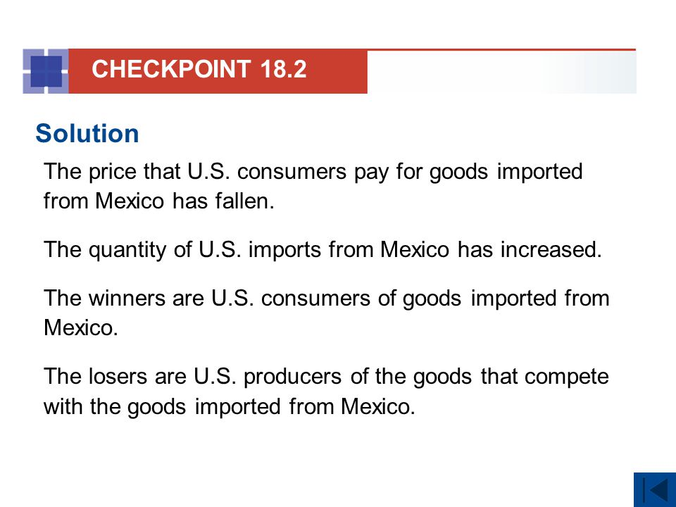 CHECKPOINT 18.2 Solution. The price that U.S. consumers pay for goods imported from Mexico has fallen.