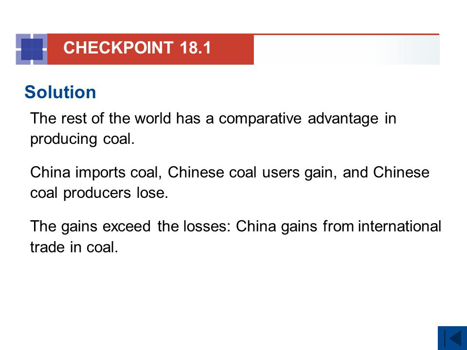 CHECKPOINT 18.1 Solution. The rest of the world has a comparative advantage in producing coal.