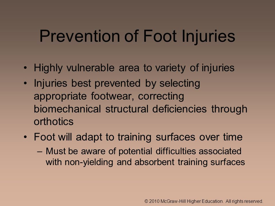 Prevention of Foot Injuries