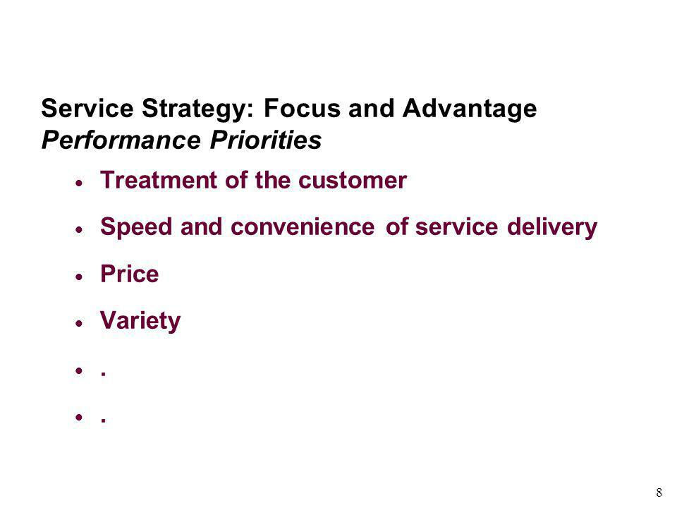 Service Strategy: Focus and Advantage Performance Priorities