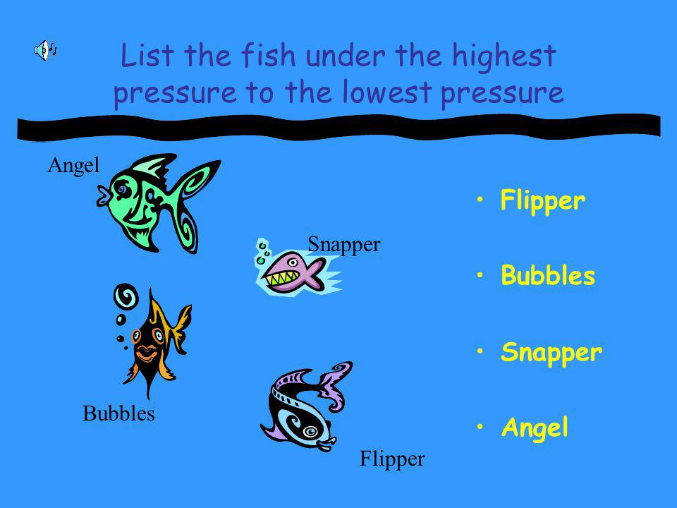 List the fish under the highest pressure to the lowest pressure