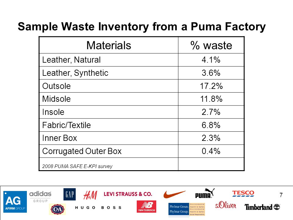 Sample Waste Inventory from a Puma Factory